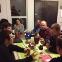 Seminarians and Lived Theology students share a meal together at Lourmel, the LTS house.