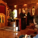 Fr. Dn. Pawel explains more about the Mission's services to the assembled seminarians.