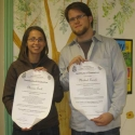 Naomi and Michael with their graduation certificates